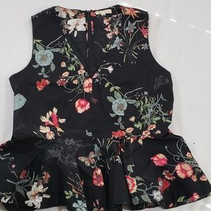 Rebecca Taylor Marguerite Floral Peplum Blouse Top